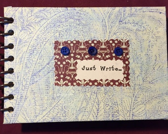 Journal, Journal Prompts, Prompt Journal, Gift Journal, Blue Journal, Vintage Button Journal