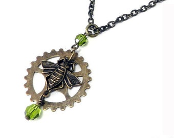 Gear Steampunk Necklace Buzzing Bee Gear with Olive Green Crystal Accents