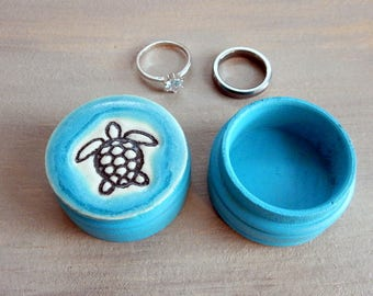Sea Turtle Ring or Pill Box Unique Jewelry Keepsake for Proposal Beach Wedding Gift Small Handmade Ceramic Wooden Tooth Fairy Storage Box