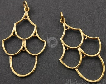 24K Gold Vermeil Over  Sterling Silver 4 U Earrings, Elegant Modern Shape Simple Lovely Jewelry Component Finding,1 PAIR  (VM/747/34X21)