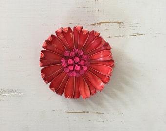 Vintage 60s Brooch/ 1960s Enamel Brooch/ Red 3D Enamel Brooch with Fuchsia Pink Center