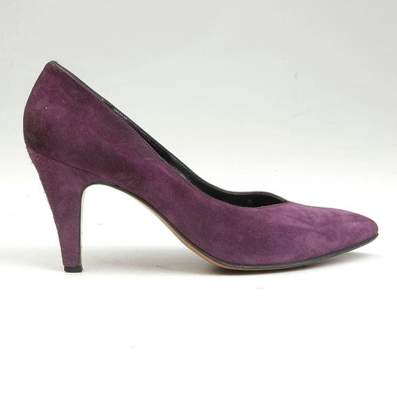 Suede 1980s Closed Purple Pumps Vintage Heels Marcus High Shoes Pointed Shoes Leather sz 80s 8 Heel Neiman Toe High Toe Pumps xX6I5wfq