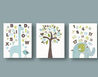 Baby boy nursery decor art ABC nursery wall art Home Décor kids art  alphabet giraffe number elephant bird tree playtoom blue green