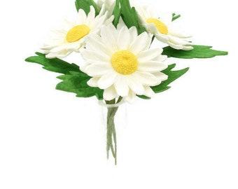 Daisy Sugar Flowers set of 4 gumpaste flowers for unique wedding cake topper
