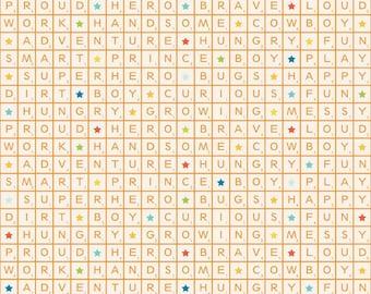 Fun & Games Words Orange by Lori Whitlock for Riley Blake, 1/2 yard