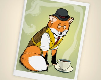 Fancy Red Fox, Tea Time Single Blank Greeting Card, Size A2, Mini Art, Illustration, Woodland, Dapper, Matte Finish, Made in USA