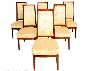 Set of Six Mid-Century Modern Solid Walnut Chairs attributed to DREXEL