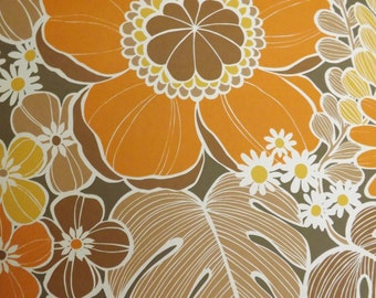 Vintage Wallpaper Giant Orange Flowers Retro fig leaves yellow by the meter brown figs Ficus carica SJH