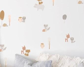 Wall Decal - Little Lady Sleepy Friends - Wall Sticker - Room Decor
