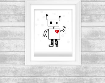 "Instant Digital Download Art print- robot heart - 8""x 10"" prints"