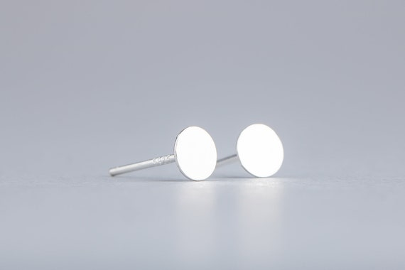 Small 5mm Round Circle Disc Stud Earrings in Sterling Silver - Nail Head Round Circle Smooth Flat Mirror Earrings - Small 5mm Size Earrings