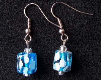Square Spotted Blue Dangle Earrings