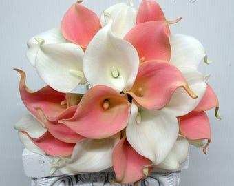 Pink calla lily bridal bouquet - Wedding bouquet, Real touch calla lily wedding flowers