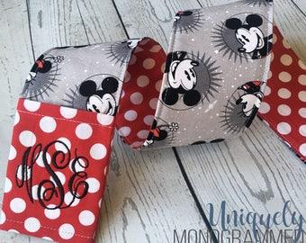 Disney Minnie Mickey Camera Strap-Padded Camera Strap Cover Lens Cap Pocket-Photographer Gift-Disney Grey- Red Dot