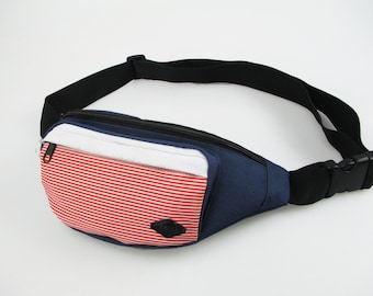 American Fanny Pack - red white blue, fourth of july waist pack, durable, built-in wallet, water resistant