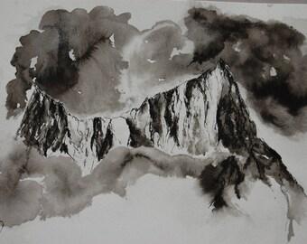 Montagne dans la brume, encre de chine