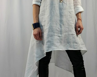 Loose Tunic Dress / Oversize  White Caftan / Maxi Summer Dress / long Sleeve Linen Top / Party Dress / EXPRESS SHIPPING / LA1001