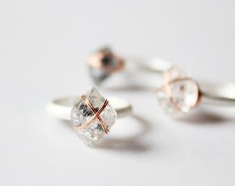 Herkimer Diamond Ring,Minimalist ring,Raw gemstone ring,raw stone ring,Raw crystal ring,raw quartz ring,rock rings,bohemian rings silver