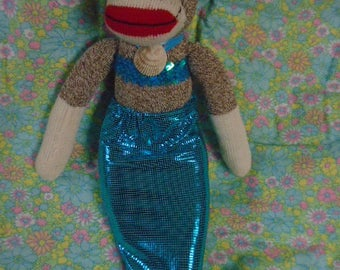 Merry Little Mermaid Sock Monkey Doll Turquoise Tail And Shell Necklace