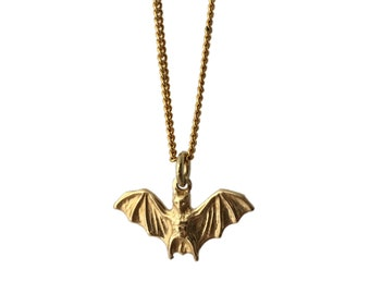 """BAT Brass Pendant Necklace on 18"""" Gold Plated Chain"""