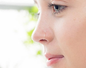 9ct WHITE GOLD Very thin Nose ring in 9ct Gold, 0.5mm/26 GAUGE, Earring, Hypoallergenic, Septum Ring, Piercing, Hoop