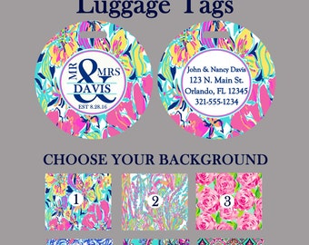Mr. and Mrs. Custom Monogrammed Luggage, Briefcase or Backpack Tag Personalized Monogram Lilly Pulitzer Inspired Gifts