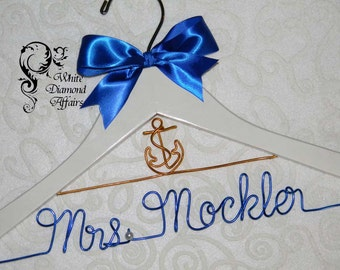 Anchor Nautical Personalized Beach Themed Wedding Bridal Hanger, Destination Caribbean Wedding Dress Hanger, Personalized Bridal