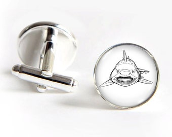SHARK Cufflinks silver 18mm cuff links Gifts for him