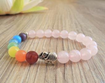elephant bracelet elephant jewelry 7 chakra bracelet elephant bead bracelet wrist mala bracelet rose quartz crystal good luck elephant charm
