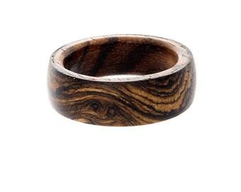 Mens Wedding Ring , Wood Wedding Band, Unique Mens Ring, Zebrawood