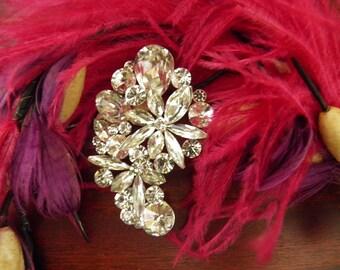 Brilliant Rhinestone Pendant, Brooch, Pin, Bridal, Bride, Headpiece
