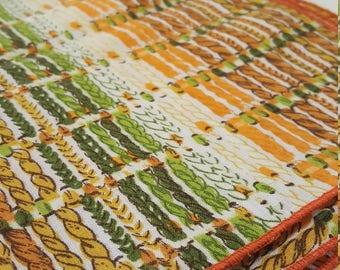 set of 4 napkins - vintage retro 60s 70s basketweave orange and green - mid century large fabric napkins set of 4 - boho napkins fabric