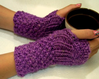 Fingerless Gloves Mittens Knit in Phlox Purple with Button Cuff