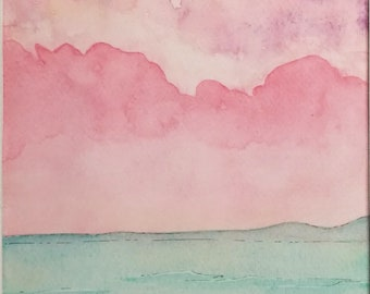 Pink sea sunset landscape watercolor painting