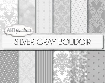 "Boudoir digital papers ""SILVER GRAY BOUDOIR"" sexy shades of grey backgrounds, damasks, pearls, fishnets, boudoir photography, scrapbooking"