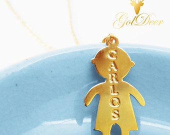 ENGRAVED NECKLACE, Gold child Necklace, Initial boy, Engravable child, Nameplate bar, Custom Name necklace, Horizontal child, Monogrammed