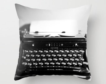 Typewriter Pillow 16x16 18x18 20x20 Pillow Cover Black and White