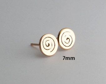 Gold Stud Earrings, Swirl Earrings Minimalist, Geometric Earrings, Jewelry, Gold Studs, Swirl Studs, Small Earrings, Stud Earrings, in 7mm