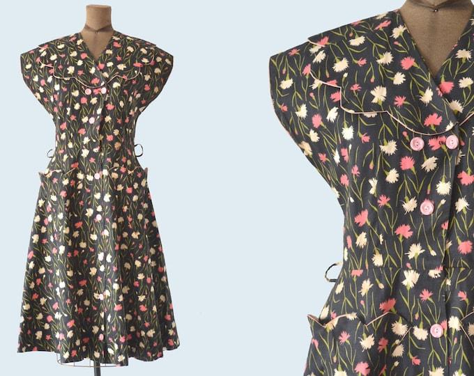 1940s Cotton Floral Dress size M