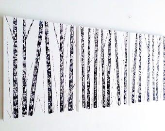 Aspen Birch Tree Painting, three 24x30x1.5 panels, Triptych, Black White Gray Birch Painting, Black and White Painting, Aspen Tree Painting