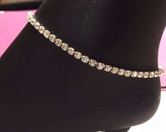 Sale!!Rhinestone anklets Silver