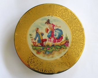 Vintage Round Cookie Tin Yellow Gold with Romantic Proposal Courting Couple in period 1700s attire, woman man colorful, container