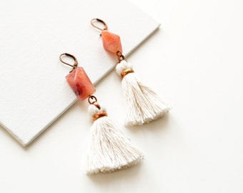 Bridal Boho Earrings, White Tassel Earrings, Pink Agate Earrings, Fringe Earrings, Shoulder Duster Earrings, Statement Earrings, Boho Chic