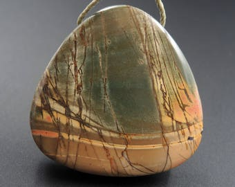 Natural Red Creek Jasper Pendant Cherry Creek Jasper Pendant Multicolor Picasso Jasper Pendant Large Hole Drilled Pendant P276