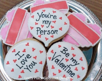 Valentines Day Cookies - 6 Cookies