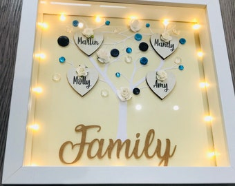Personalised Family Tree Frame with Lights, free shipping, gifts for friends, teacher, anniversary, wedding, husband, wife, boyfriend, girlf