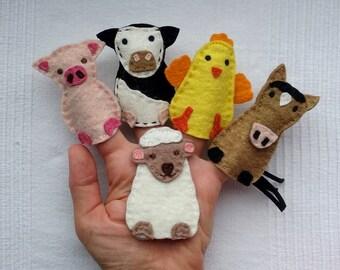 Farm animals finger puppets, Felt animals, Felt puppets