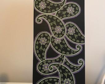 Paisley , steampunk design, victorian, acrylic, canvas painting, dot art