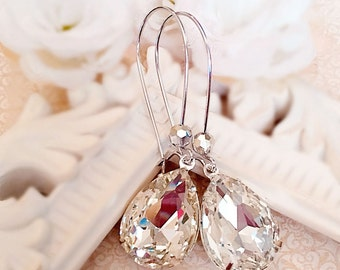 Victorian Earrings - White Diamond Jewelry - Silver Earrings - Jewelry Gift - Crystal Earrings - SOMERSET Crystal