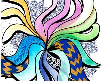 Abstract Watercolor Rainbow Swirl